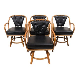 Vintage Swivel Rattan & Leather Chairs - Set of 4