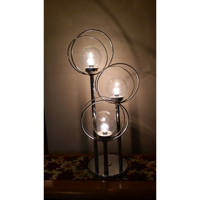 Mid Century 3 Way Chrome Lamp with Clear Bulbs - Image 4 of 6