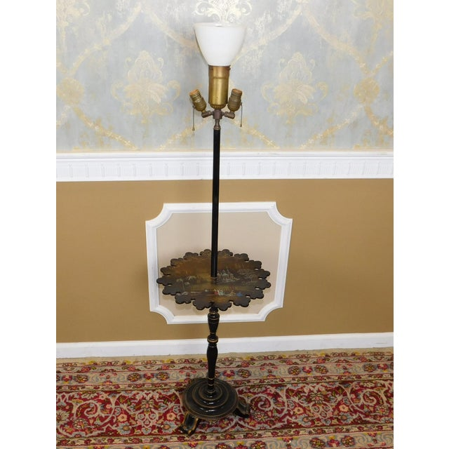 1930s Victorian Papier Mache Mother of Pearl Inlaid & Hand Painted Floor Lamp - Image 2 of 11