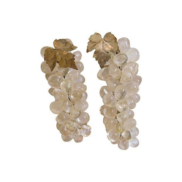 Image of Carved Clear Stone Wine Grape Bunch - Pair