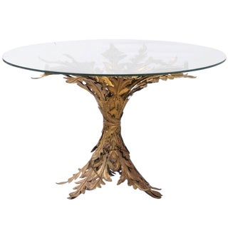 Italian Mid-20th Century Gilt Metal Leaf Pedestal Round Table with Glass Top
