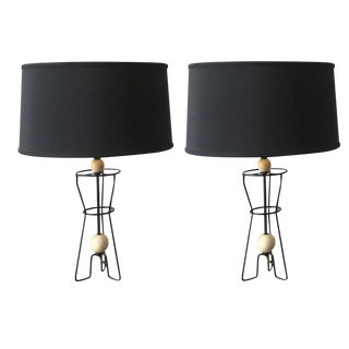 1960 Vintage Mid Century Modern Atomic Style Lamps - a Pair