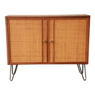 Mid-Century Modern Woven Front Small Credenza Attributed to Edward Wormley