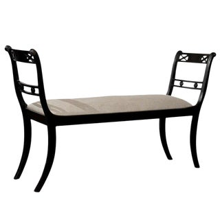 English Upholstered Bench with Arms