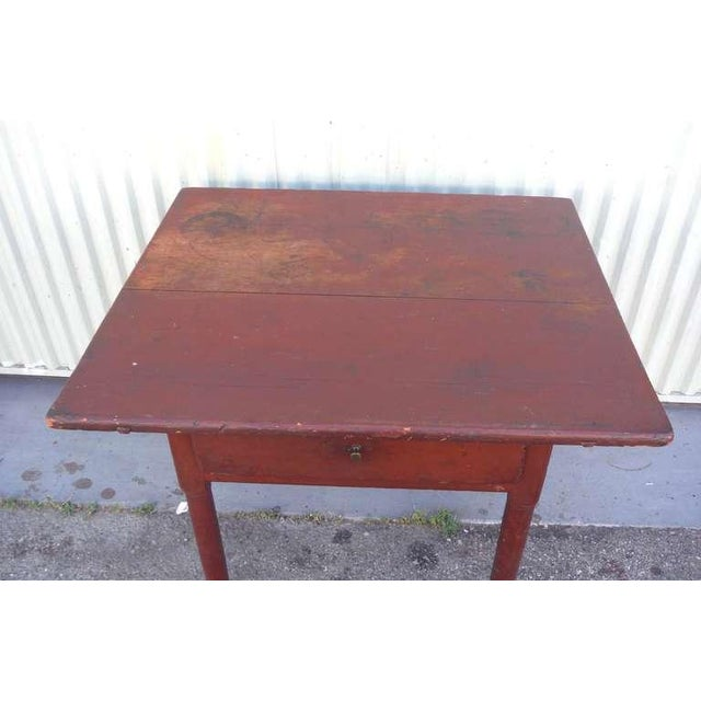 Image of 18thc Original Red Lift Top Tavern Table With Original Drawer