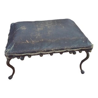 Rustic Antique Leather Footstool