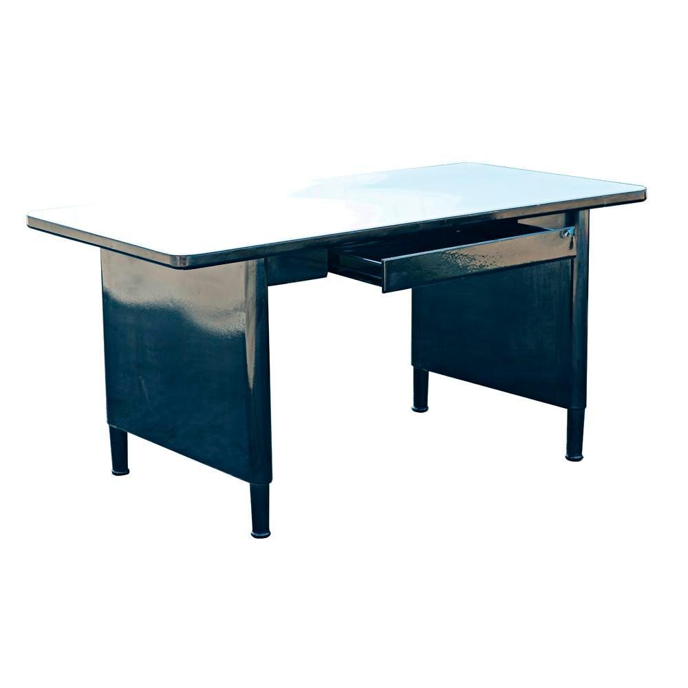 Vintage Mid Century McDowell And Craig Black Steel Panel Leg Desk Work Table    Image
