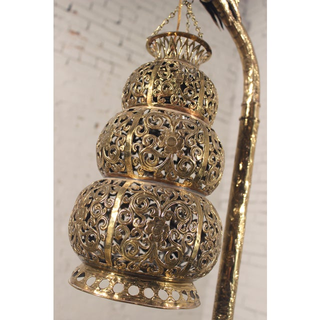 Tibetan Hammered & Pierced Brass Dragon Floor Lamp - Image 5 of 11
