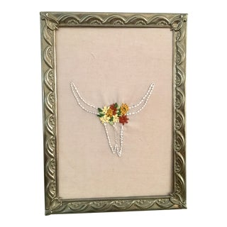 Embroidered Floral Steer Head