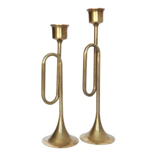 Two Vintage Brass Horn Candleholders