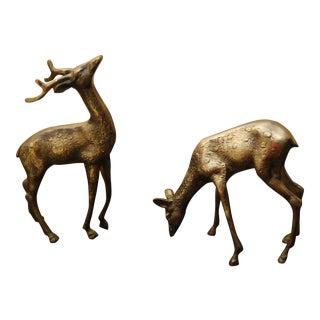 Mid-Century Brass Deer Statues- A Pair
