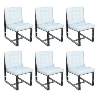 Heavy Steel Milo Baughman Dining Chairs - Set of 6