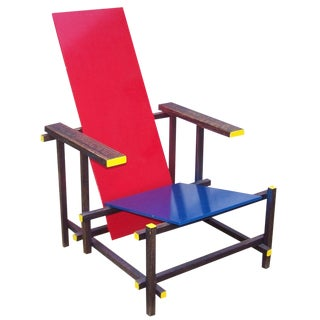Gerrit Rietveld Style Red & Blue Chair