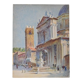 Vintage Lithograph, Northern Italy, Marostica