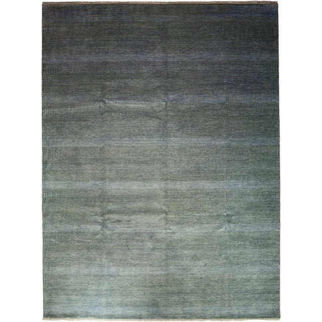 "Tonal Striped Hand Knotted Area Rug - 9'1"" X 12'3"" - Image 2 of 4"