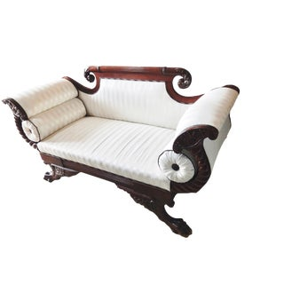 Victorian Mahogany Scroll Arm Settee