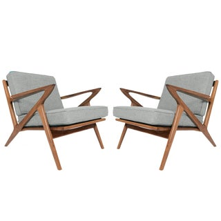 "Gray ""Model Z"" Walnut Lounge Chairs - A Pair"