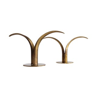 Ystad Metall Brass Lilly Candlestick Holders