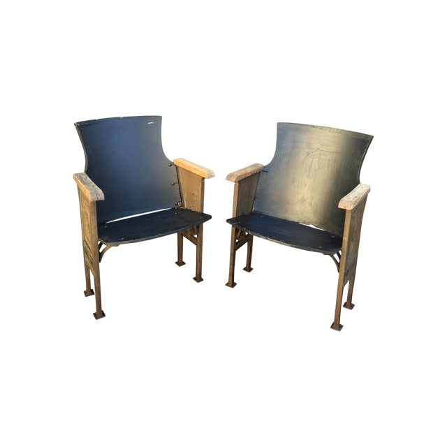 Black & Gold Theatre Chairs - A Pair - Image 1 of 6