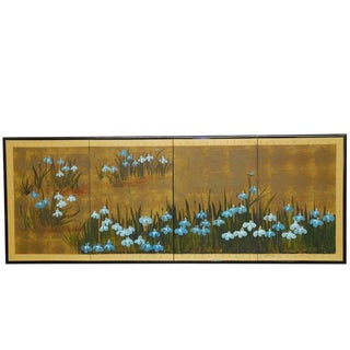 Japanese Iris Motif 4-Panel Byobu Screen - Set of 4