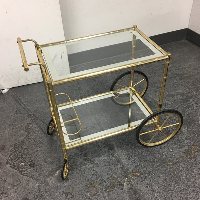 Two Tiered Brass & Glass Bar Cart - Image 3 of 7