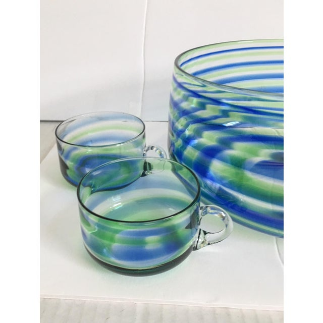 Mid-Century Artisanal Glass Swirl Punch Bowl Set - Set of 5 - Image 2 of 6