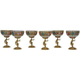 French Limoges Bronze & Porcelain Bacchanalian Goblets- Set of 6