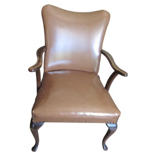 Queen Anne Style Brown Faux Leather Armchair
