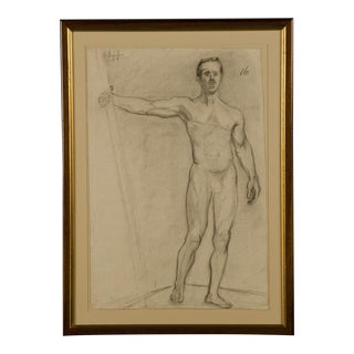 An original drawing on paper from life of a male nude from France c.1880.