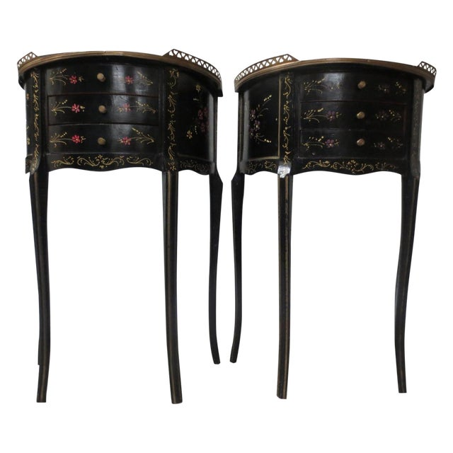 Mid-Century Black Demilune Side Tables - A Pair - Image 1 of 8