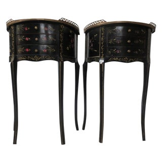Mid-Century Black Demilune Side Tables - A Pair