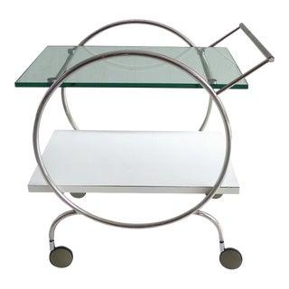 Post Modern 2-Tier Rolling Chrome Bar Cart