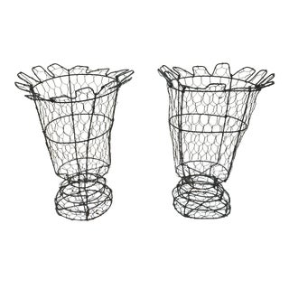 English Wire Garden Urns - A Pair