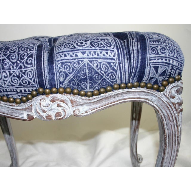 French Tufted Hand-Carved Vanity Bench - Image 5 of 5