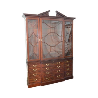 Baker Colonial Williamsburg Collection Large Mahogany Chippendale Style Breakfront
