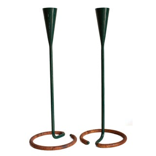 Green Metal & Rattan Wrapped Candle Holders - A Pair