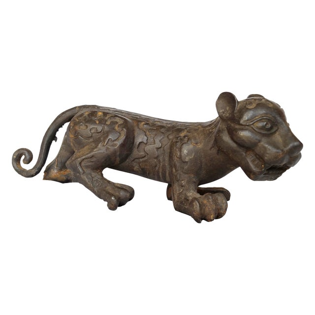 Image of Vintage Cast Iron Jaguar Statue