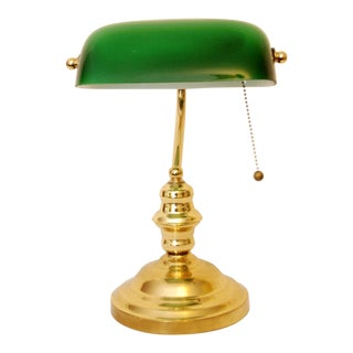Green Glass Shade Desk Lamp
