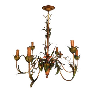 Daintly Floral Painted Iron Chandelier