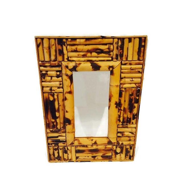 Image of Vintage Tortoiseshell Bamboo Ornate Mirror