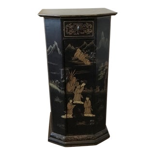 Black Japanned Wood Petite Cabinet Table With Gilt