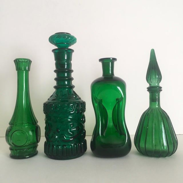 Vintage Mid-Century Modern Collected Green Glass Bottles - Set of 4 - Image 11 of 11
