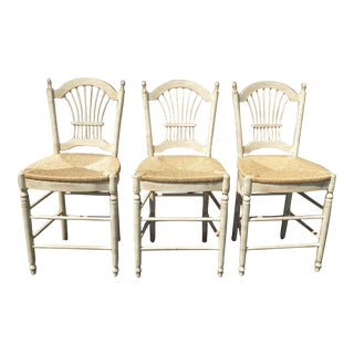 Country Beige Wheat Sheaf Back Rush Bar Stools- Set of 3
