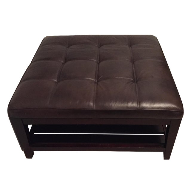 crate and barrel leather ottoman chairish. Black Bedroom Furniture Sets. Home Design Ideas