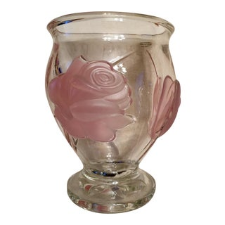 Pink Frosted Rose Relief Glass Vase