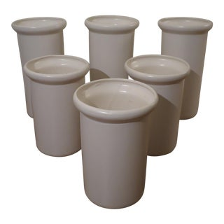 Vintage USA Pottery Cylindrical Planters- Set of 6