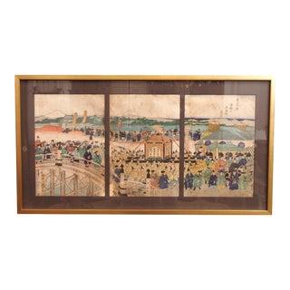 19c Japanese Woodblock Print Triptych, Attributed to Kuniteru,1829-1874