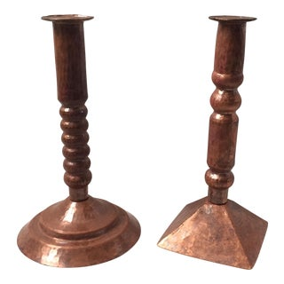 Hammered Copper Candlesticks - A Pair