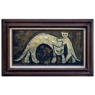 Cat & Kitten Play 1960s Vintage Painting Collage