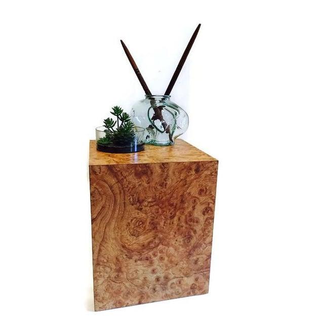 Vintage Burlwood Cube Side Table - Image 2 of 6